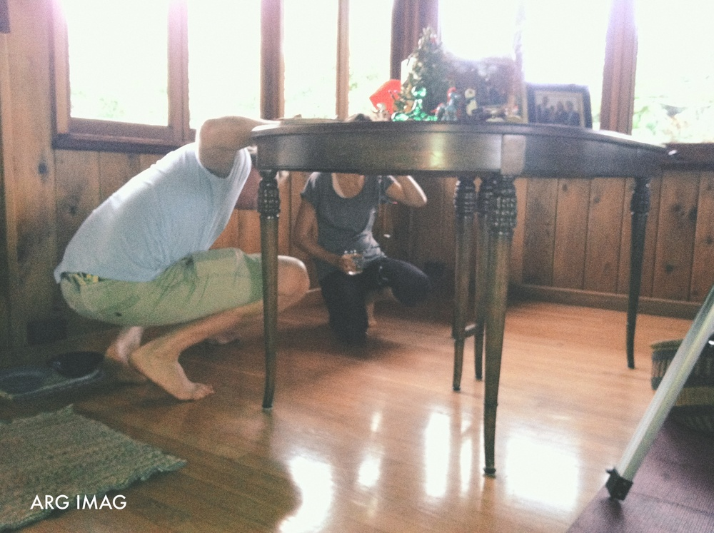 5:00pm  - Our friend Max wanted to show Bryce this vintage table her grandfather left them.