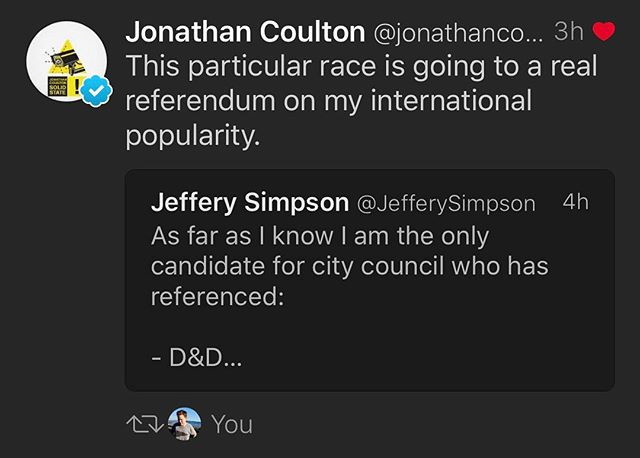 Still haven't secured a coveted local endorsement (apparently the White Rock doesn't do endorsements but does stand by its past statements). However I did get a nice ReTweet from #JonathanCoulton. sadly he's not a voter in town.  #whiterockbc #WhiteRockVotes