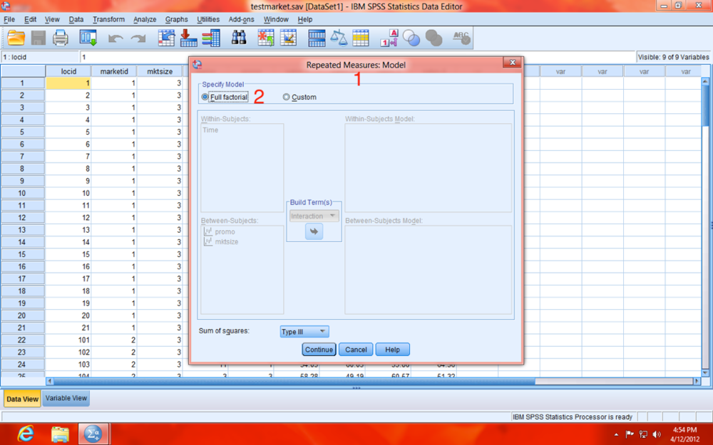 SPSS Repeated Measures Full Factorial Dialogue Window