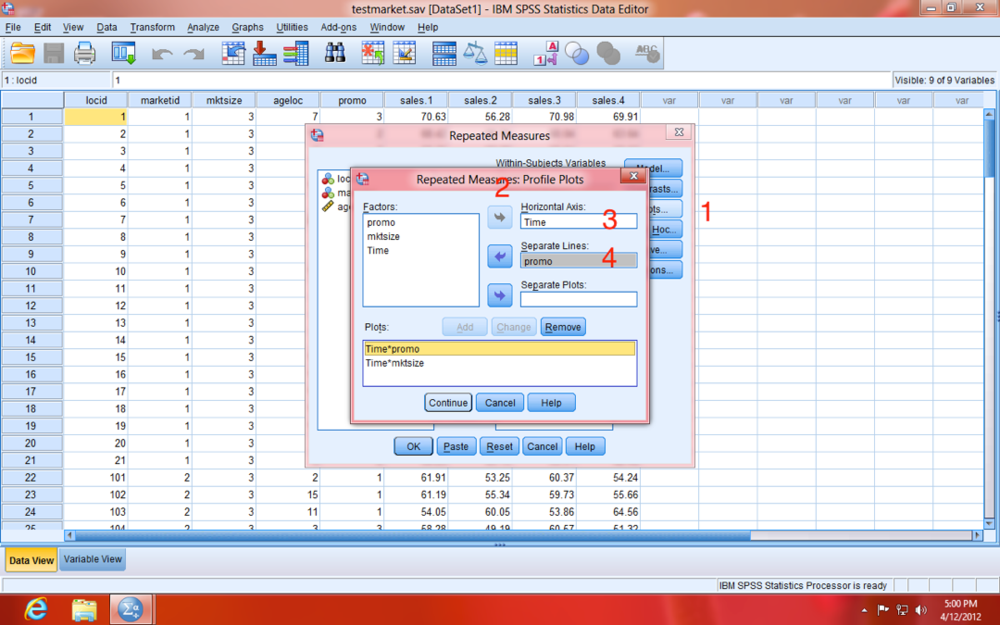 SPSS Repeated Measures Plots Model Dialogue Window