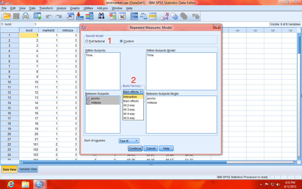 SPSS Repeated Measures Custom Model Dialogue Window
