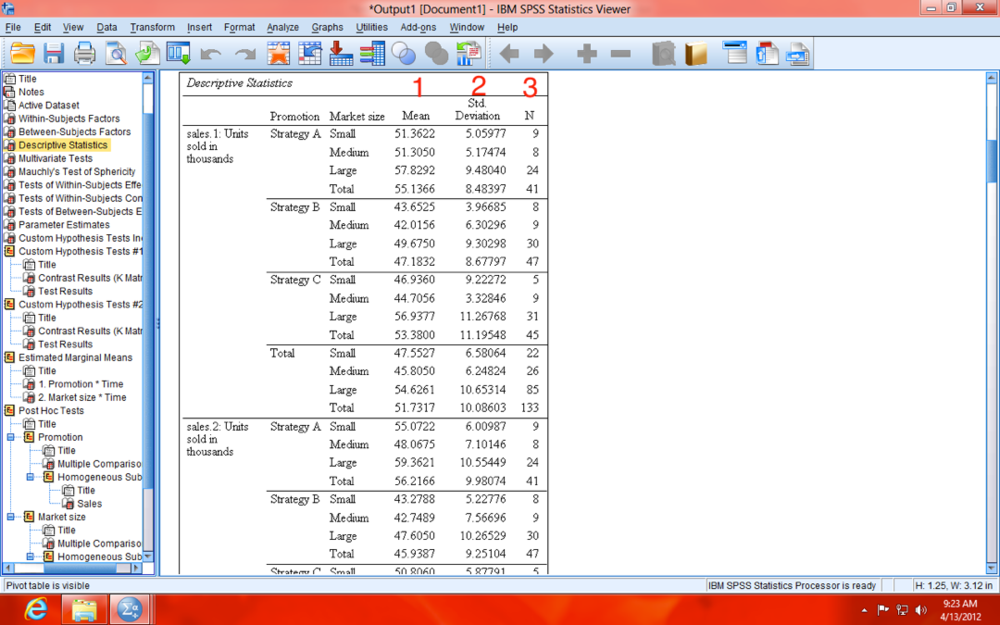 SPSS Repeated Measures MANCOVA Descriptives Table Image