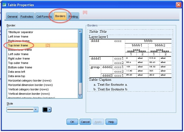 SPSS TableLooks Screen Example Borders