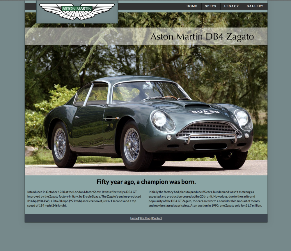 Aston Martin DB4 Zagato Website
