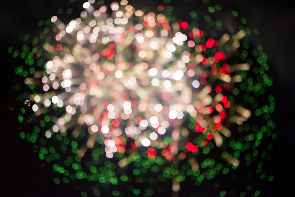 Red and Green Bokeh Fireworks