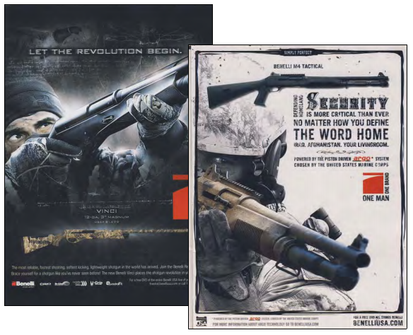 "These Benelli shotgun ads from 2010 share a common concept: to instill confidence in the potential consumer, to either harvest waterfowl with high proficiency or to provide unmatched defense capability with a battle-tested shotgun design.  To the author of the study, they are both intimidating, and are accused of igniting growth in the ""militia""movement."