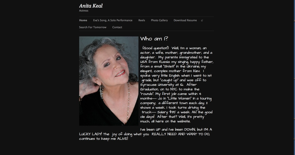Anita Keal, Actor Website