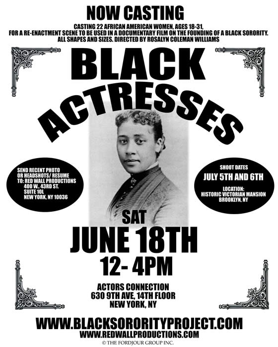 "Casting call for the documentary ""The Black Sorority Project"""