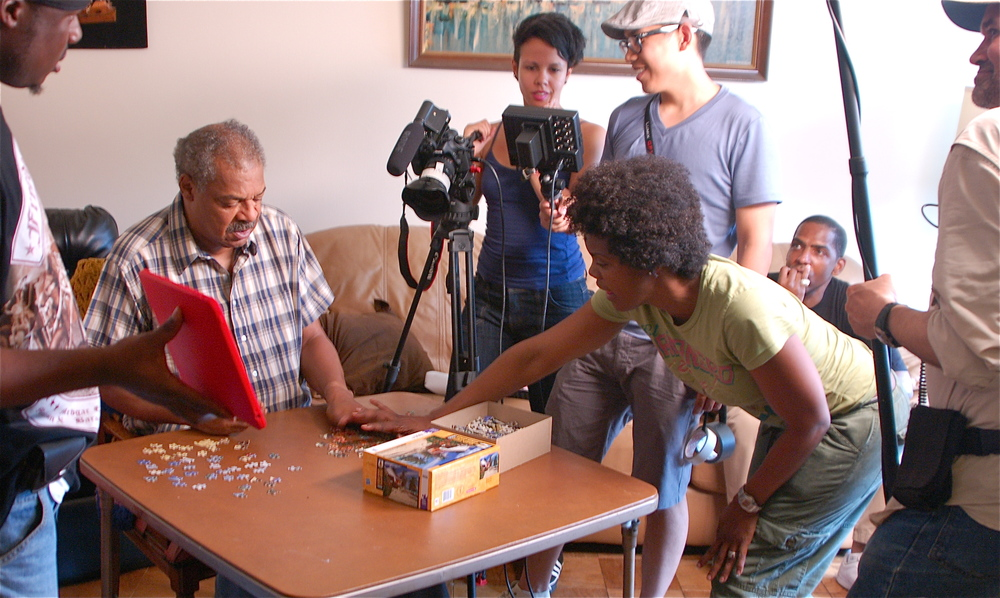 "Roz directing Tony Winner Roger Robinson on set of ""Cool Kidz"""