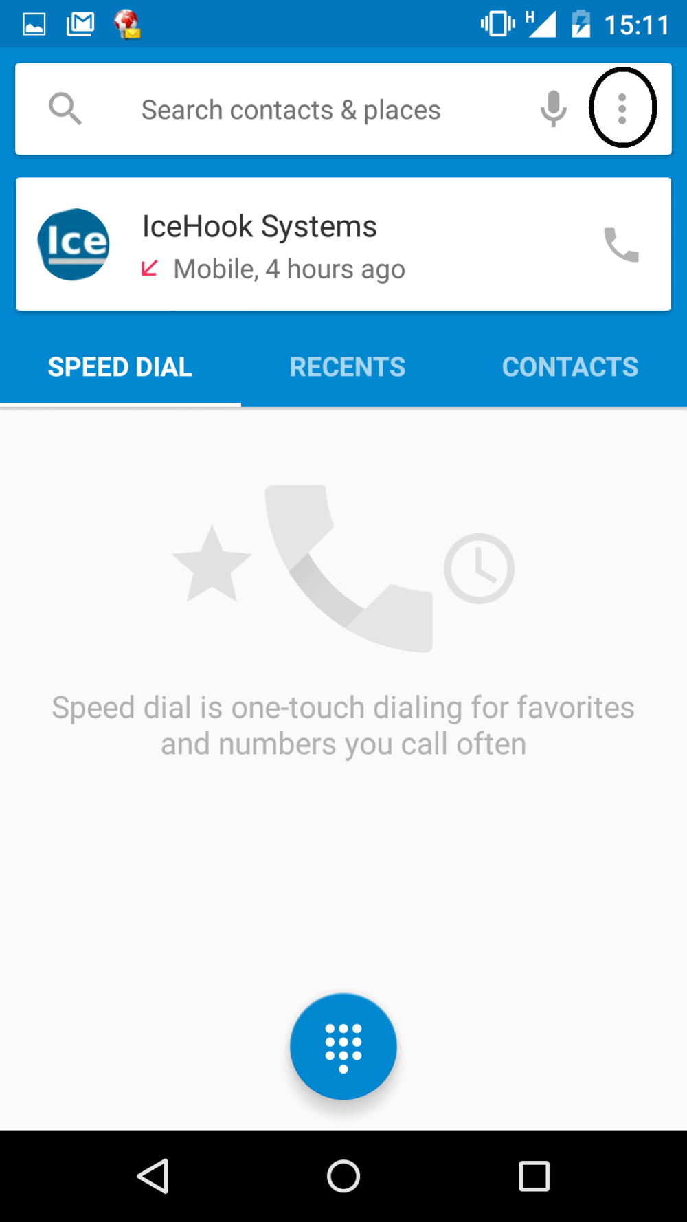 Open the dialer menu