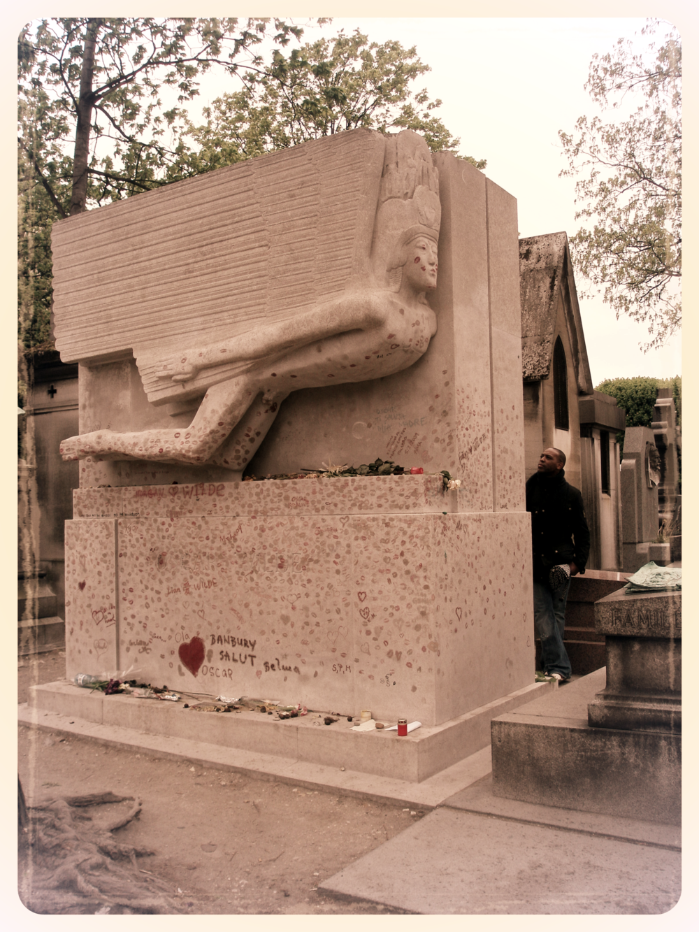 Oscar Wilde's grave at Père Lachaise Cemetery