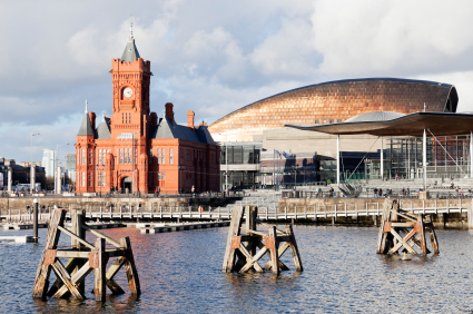 Pierhead Building with Millenium Center on the bay