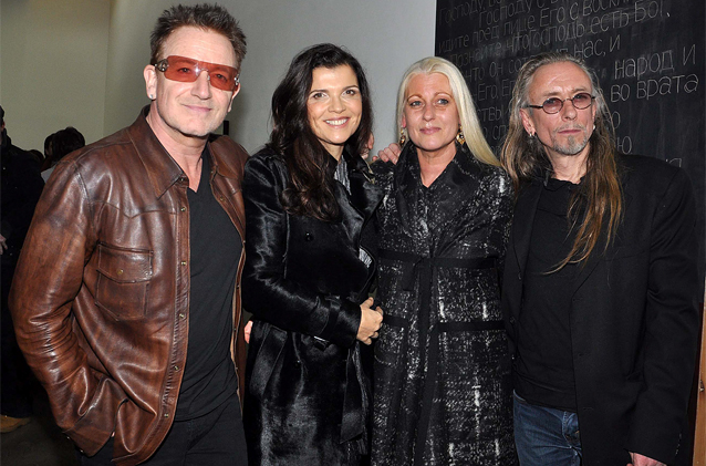 Bono and his wife Ali Hewson with artist and long-time friend Guggi and his wife Sibylle