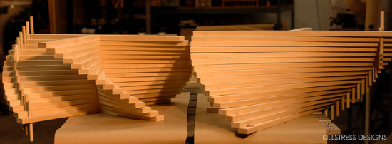 maple slats for modern kitchen island by MYD studio, inc