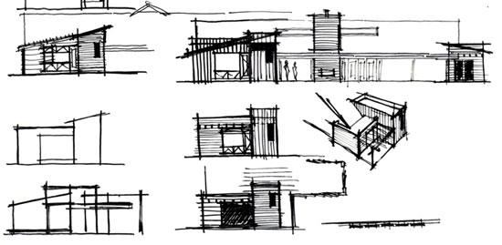 architectural elevation concept sketches / villa park
