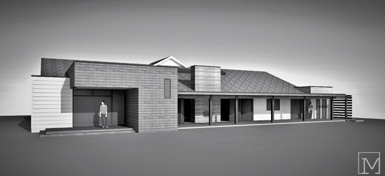 rear perspective of residential addition