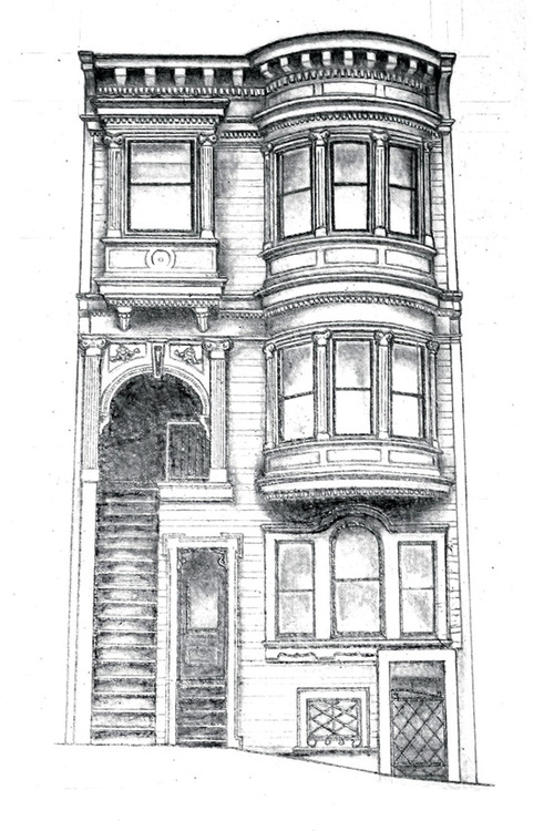 pencil drawing of san francisco architecture