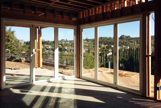 corner bi-folding doors at MYD's Fullerton construction site