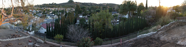panoramic view from rear yard