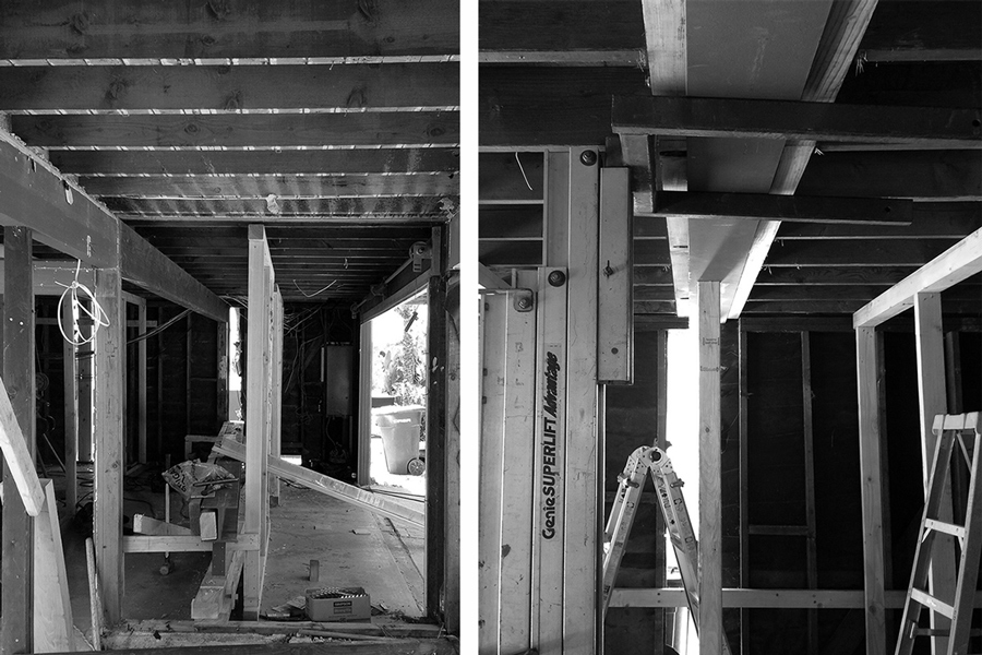 Garage clearance + steel beams at residential renovation
