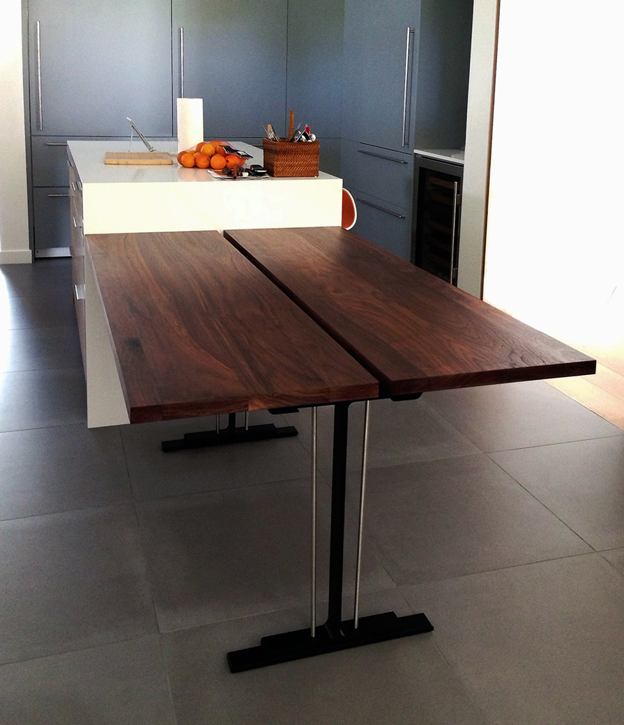 Modern industrial natural steel and walnut table
