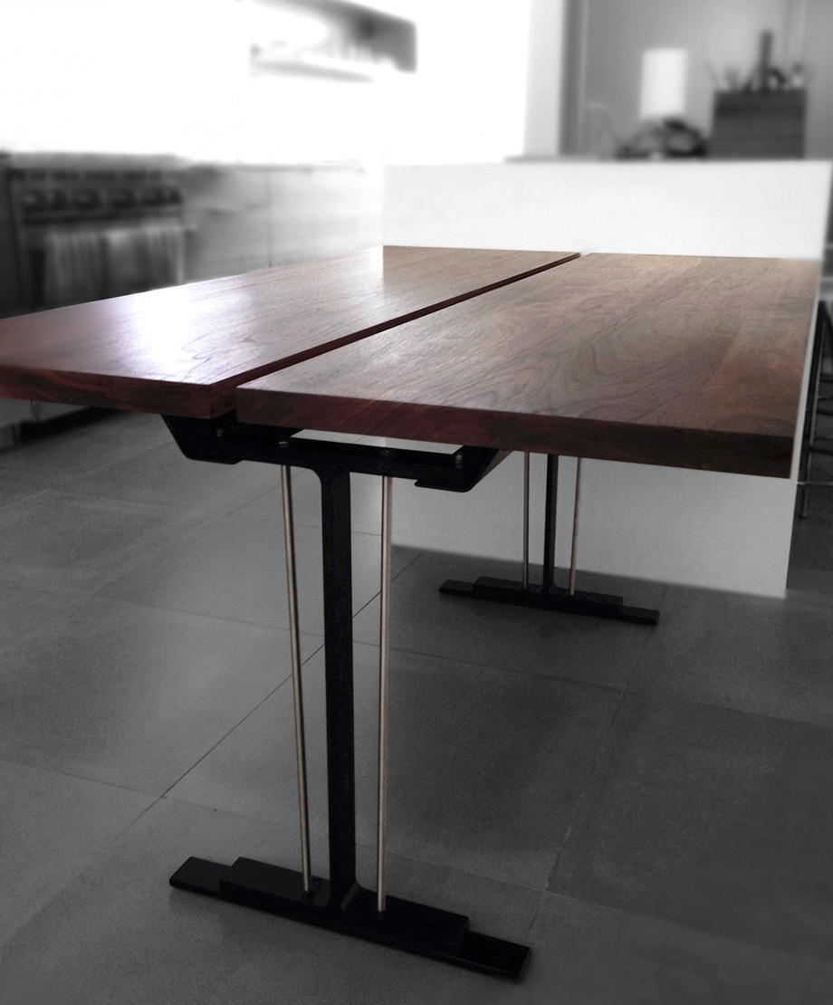 Modern Furniture: Custom Walnut and Steel Dining Table