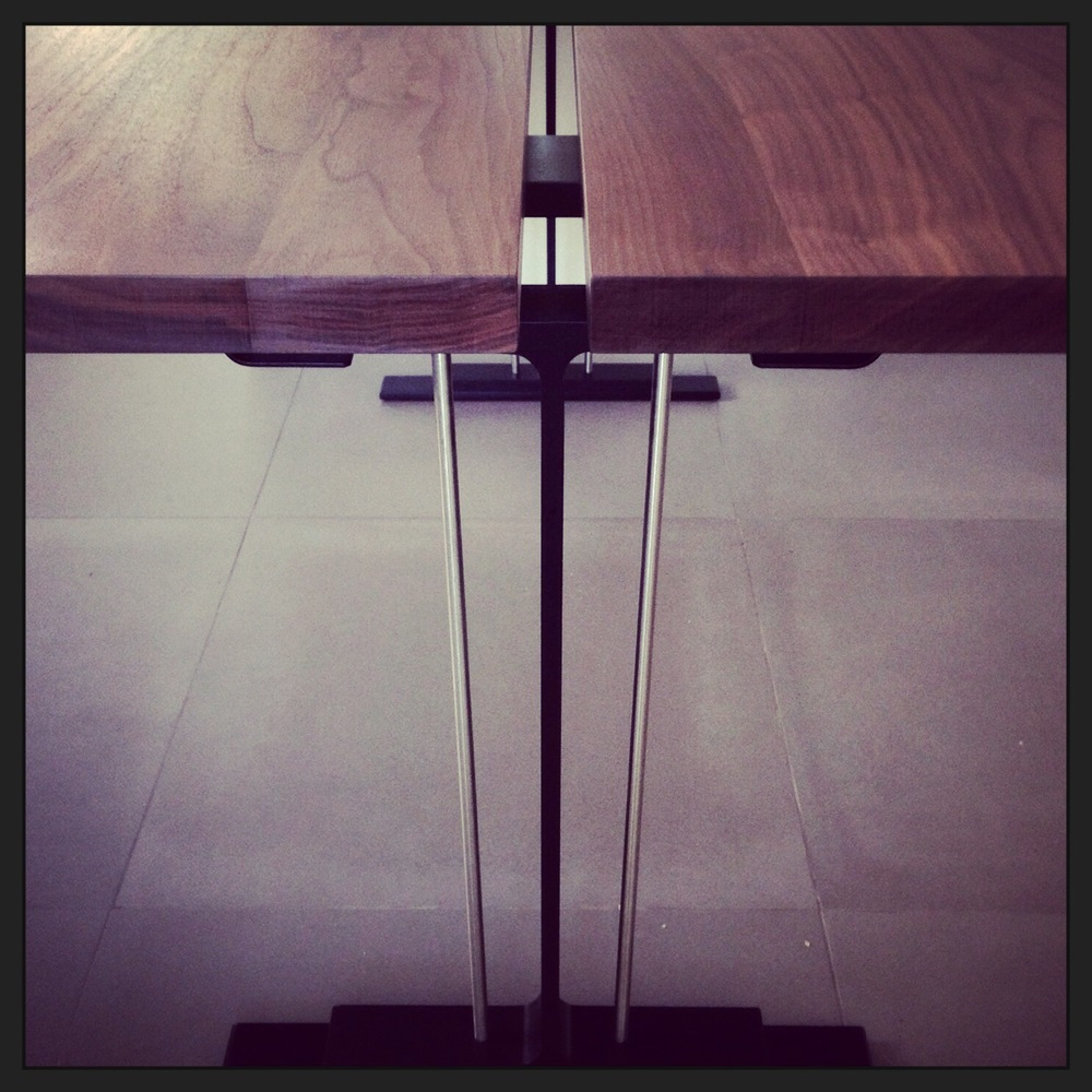walnut + steel table | interiors: mission viejo