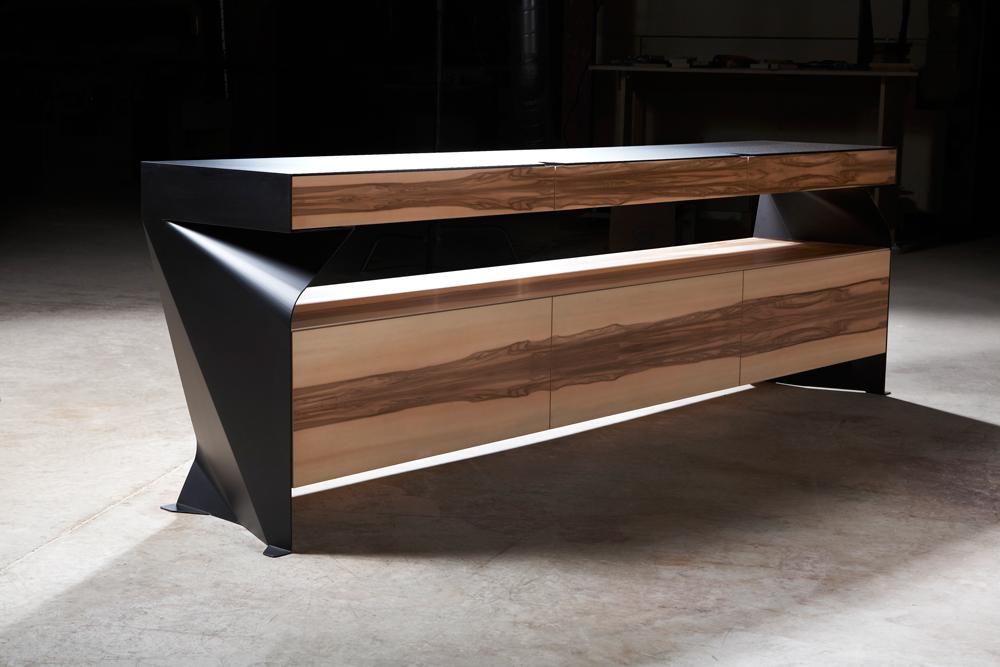 modern steel + wood credenza