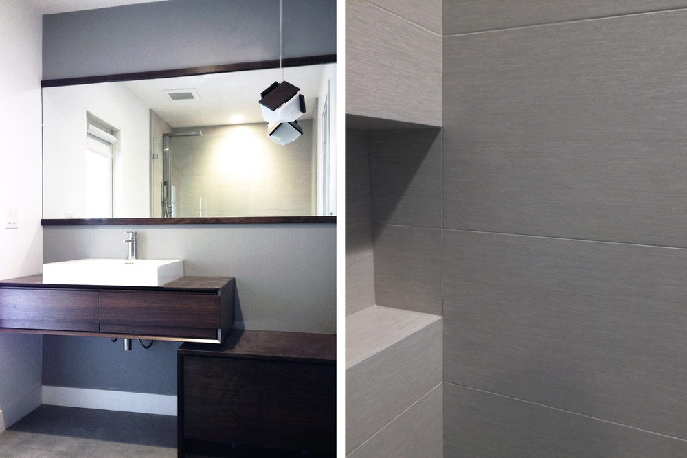 walnut vanity + linear gray shower tile