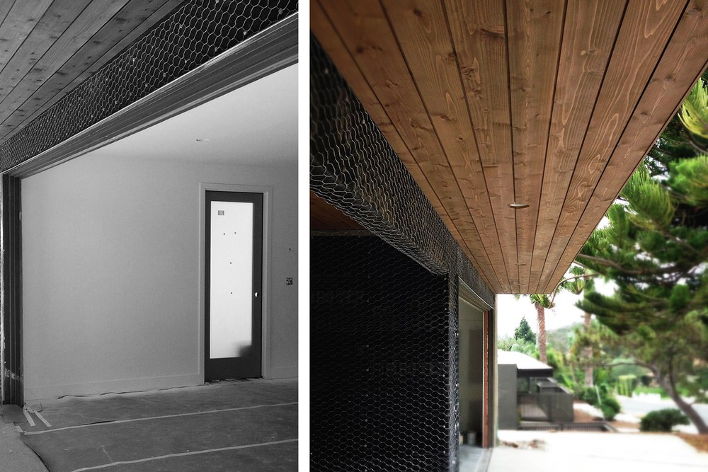 stucco lath + cedar