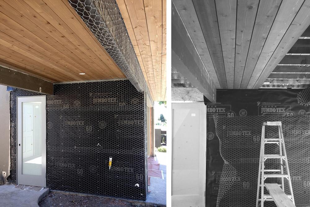 exterior lath + cedar at soffit
