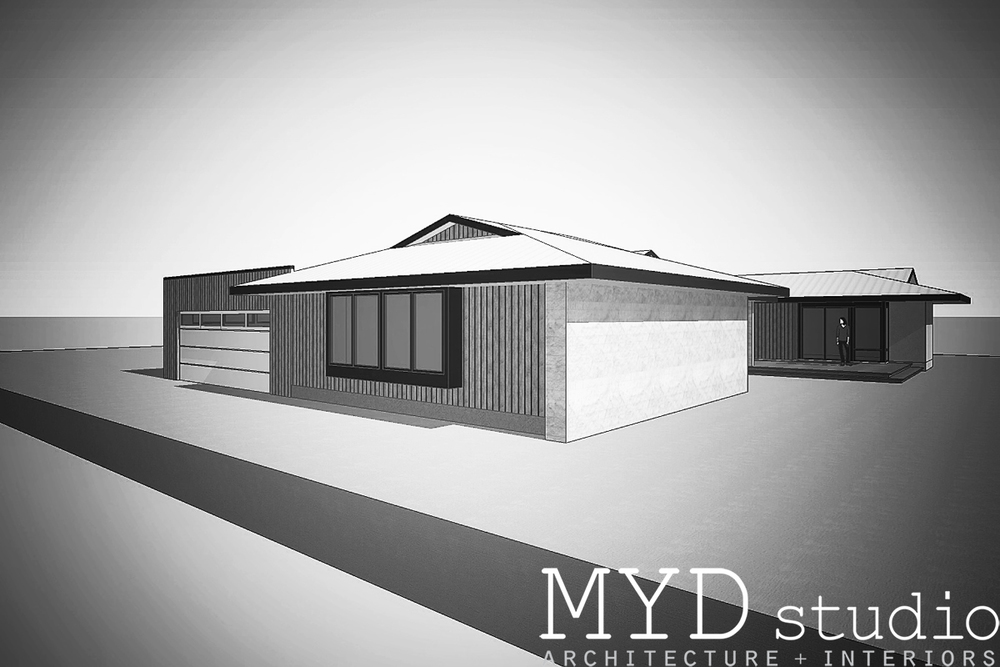 design rendering / bedroom + garage addition