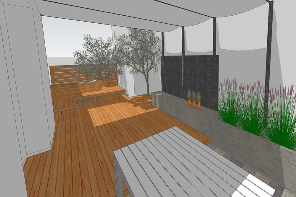 concrete + steel fireplace