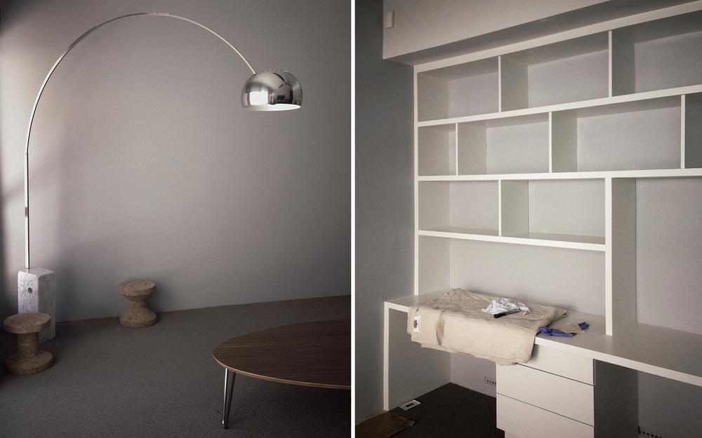 arch lamp, noguchi rudder + custom cabinetry
