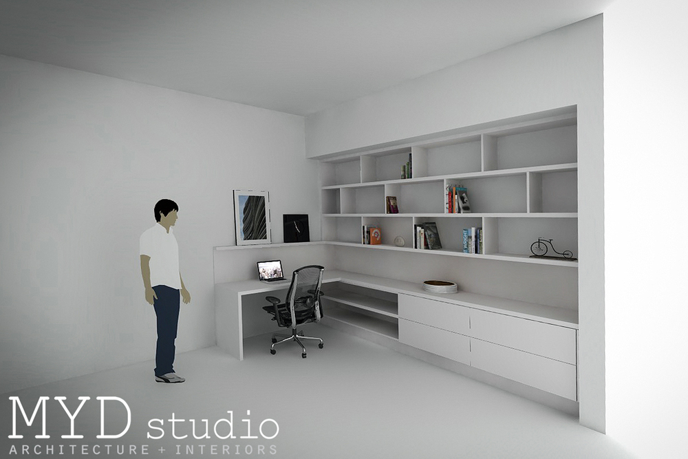 custom built-in desk + staggered shelving / myd studio, aliso vi
