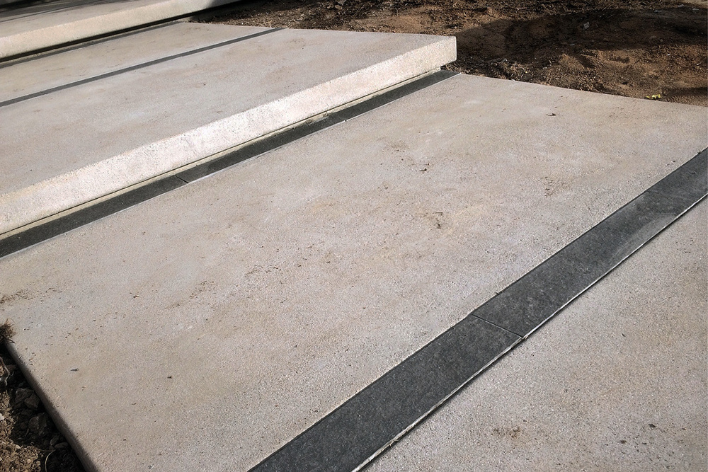concrete pads with basalt stone joint detail