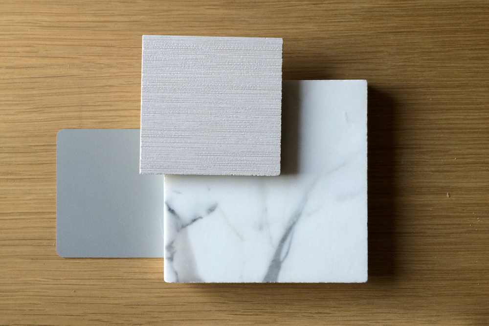 carerra marble, rift oak, silk blanco porcelain tile // costa dr, mission viejo