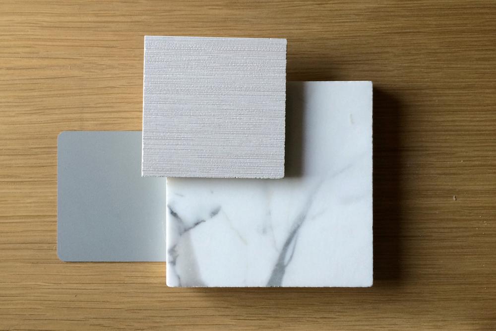 rift oak, marble + porcelain tile