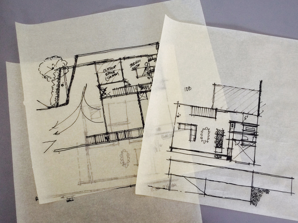conceptual floor plan development sketches