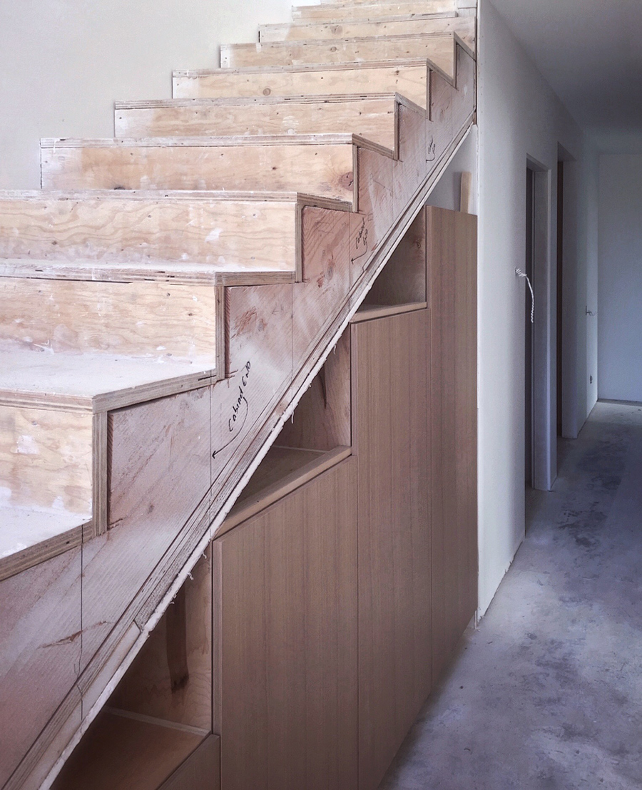 custom cabinetry at stair