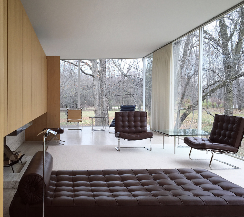 living room / farnsworth house interior