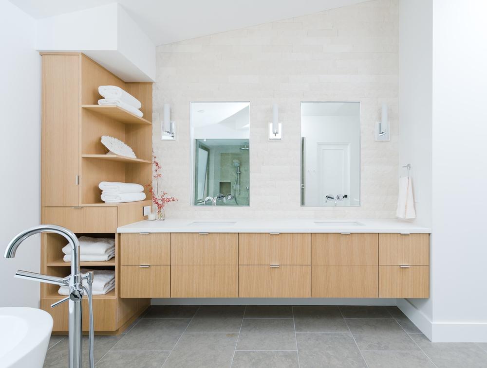 custom rift oak vanity / master bath