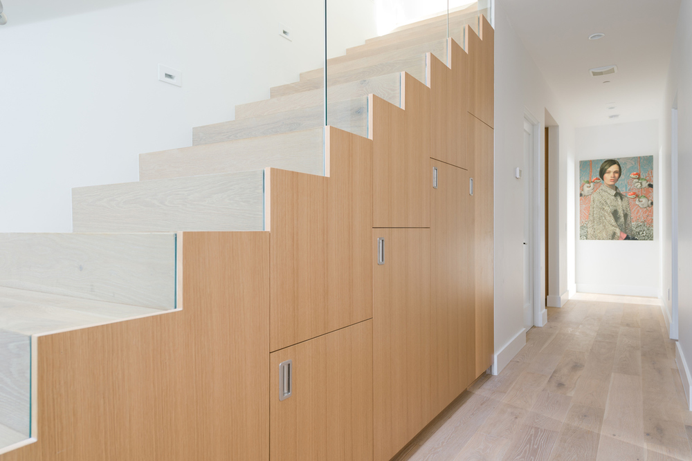 rift oak storage at entry stair