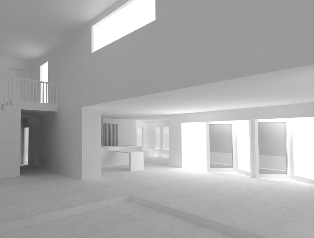 interior massing model / view towards rear yard