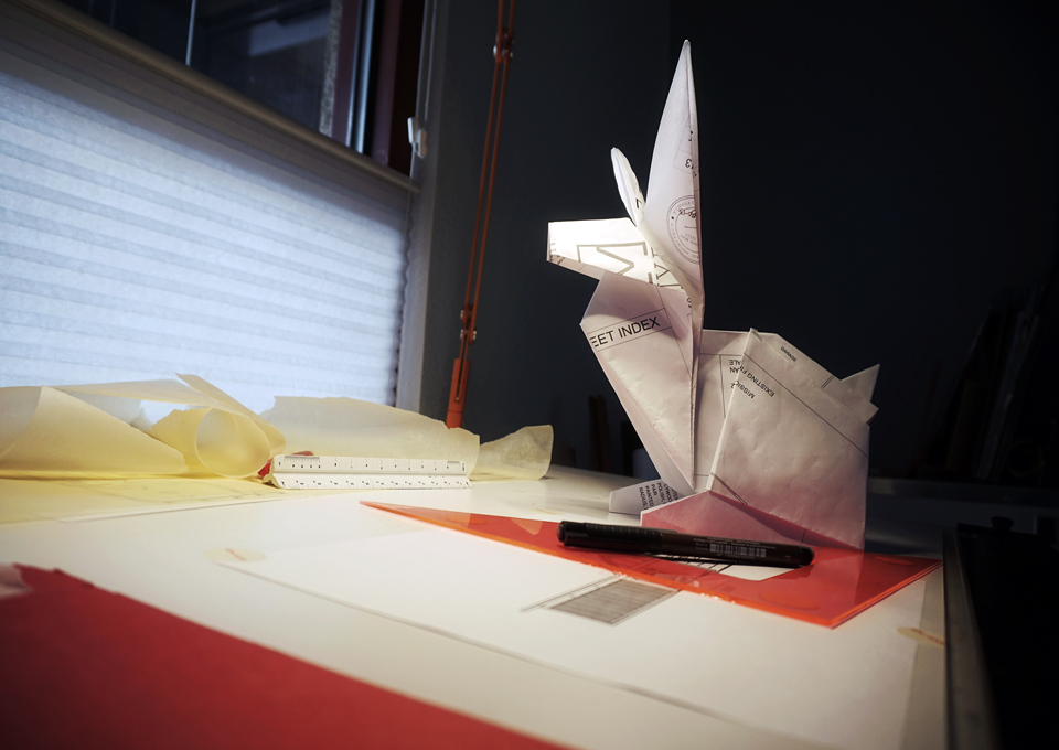 origami rabbit / repurposed architectural drawings