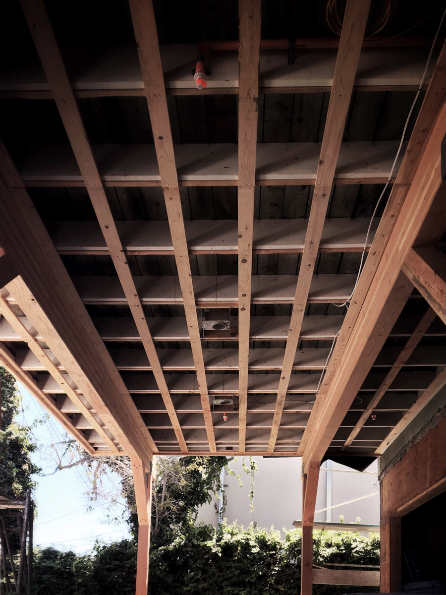 framing at rear deck + garage