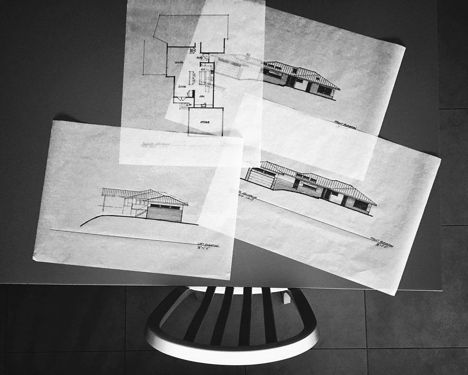 preliminary design drawings / front, side elevations + floor plan