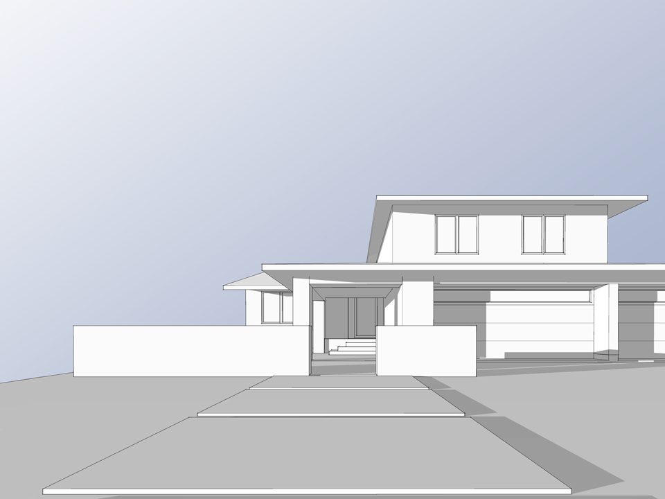 front elevation massing / kite hill addition + renovation