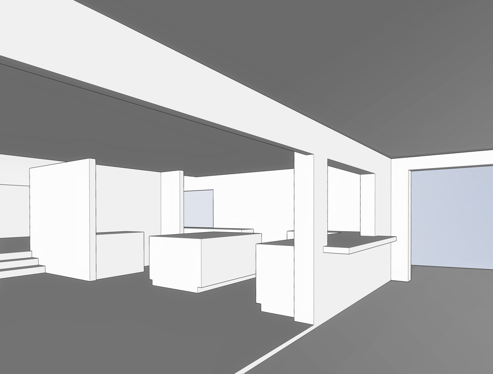 view toward kitchen / massing model render