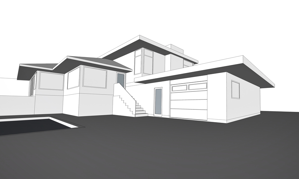 double-sided garage / view from rear